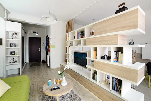 Квартира на 40 кв.м., демонстрирующая очень творческое расположение