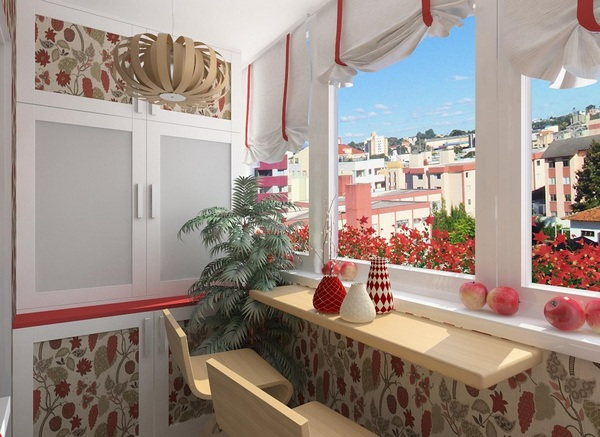 Дизайн интерьеров балкона лоджии