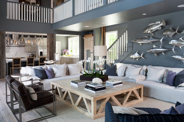 Интерьер гостиной в морском стиле