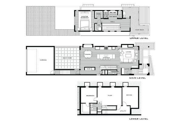 Современный трехуровневый дом, демонстрирующий творческие конструктивные особенности