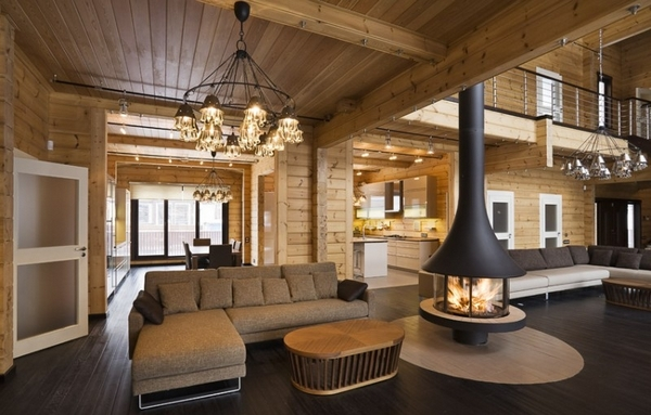Дизайн интерьера дома из бревна